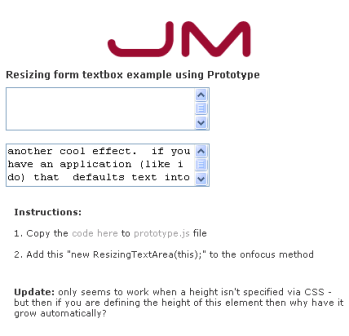 Resizing form textbox example using Prototype